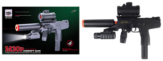 Double Eagle M30P Uzi Spring Pistol with Laser, Flashlight, Red Dot Scope and Silencer