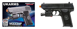 UKARMS M333AF SPRING PISTOL W/ LASER AND FLASHLIGHT (BLACK)