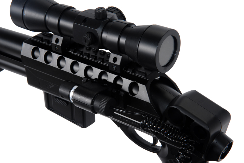Double Eagle M47B2 Tactical Spring Shotgun w/ Mock Scope and Presure Switch Laser