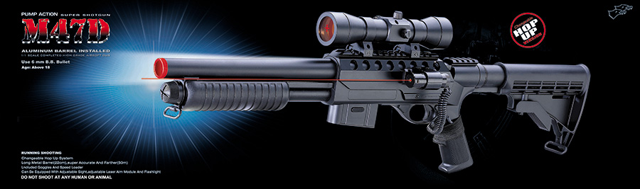 Double Eagle M47D Spring Shotgun w/ Scope, Pressure Switch Laser and Adjustable LE Stock