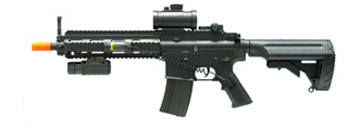 Double Eagle M804A2 AEG Plastic Gear MK416 RIS Retractable Stock, Red Dot Scope, Flashlight & Laser w/ Pressure Switch