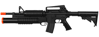 DOUBLE EAGLE M4 RIS w/GRENADE LAUNCHER (TRI-BURST SHOTGUN) AUTO ELECTRIC GUN PLASTIC GEAR (COLOR: BLACK)