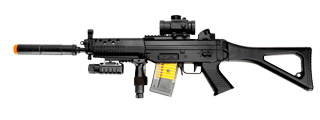 M82P AEG Plastic Gear SG w/Flashlight, Laser, Red Dot Scope, Silencer, Vertical Grip & Side Folding stock