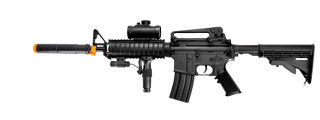Double Eagle M83A2 AEG Plastic Gear M4 w/ Flashlight, Pressure Switch Laser, Red Dot Scope, Silencer