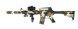 Double Eagle M83A2CAMO AEG Plastic Gear M4 w/ Pressure Switch Laser, Red Dot Scope, & Barrel Extension