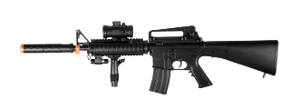 Double Eagle M83B2 Plastic Gear M4 AEG w/ Laser, Flashlight, & Red Dot Scope, Black