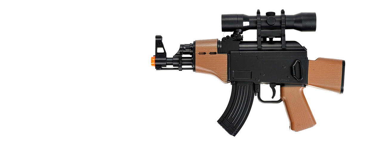 M95B DOUBLE EAGLE PLASTIC GEAR MINI AK LPEG W/ MOCK SCOPE (BLACK/WOOD)