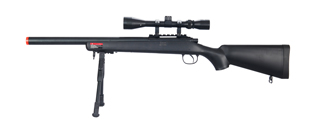 WELLFIRE AIRSOFT VSR-10 BOLT ACTION RIFLE W/ SCOPE & BIPOD - BLACK