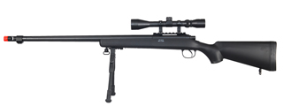 WELL MB07BAB VSR-10 BOLT ACTION RIFLE w/FLUTED BARREL, SCOPE & BIPOD (COLOR: BLACK)