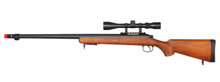 WELL MB07WA VSR-10 BOLT ACTION RIFLE w/FLUTED BARREL & SCOPE (COLOR: WOOD)