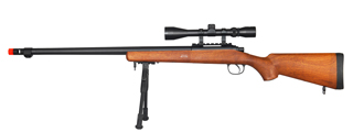 UK ARMS AIRSOFT VSR-10 BOLT ACTION SCOPE RIFLE W/ FLUTED BARREL - WOOD