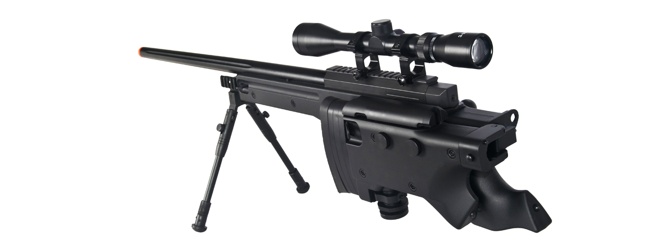 WELL MB08BBIP L96 AWP BOLT ACTION RIFLE w/FOLDING STOCK & BIPOD (COLOR: BLACK)