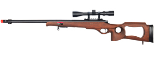 WELL MB09WA BOLT ACTION RIFLE w/FLUTED BARREL & SCOPE (COLOR: WOOD)