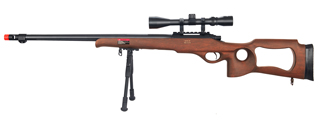 WELL MB09WAB BOLT ACTION RIFLE w/FLUTED BARREL, SCOPE & BIPOD (COLOR: WOOD)