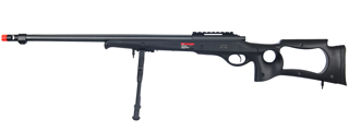 WELL MB10BBIP BOLT ACTION RIFLE w/FLUTED BARREL & BIPOD (COLOR: BLACK)