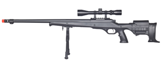 WELL MB11BAB BOLT ACTION RIFLE w/FLUTED BARREL, SCOPE & BIPOD (COLOR: BLACK)
