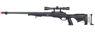 WELL MB12BA BOLT ACTION RIFLE w/FLUTED BARREL & SCOPE (COLOR: BLACK)