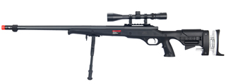 WELL MB12BAB BOLT ACTION RIFLE w/FLUTED BARREL, SCOPE & BIPOD (COLOR: BLACK)