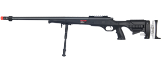 WELL MB12BBIP BOLT ACTION RIFLE w/FLUTED BARREL & BIPOD (COLOR: BLACK)