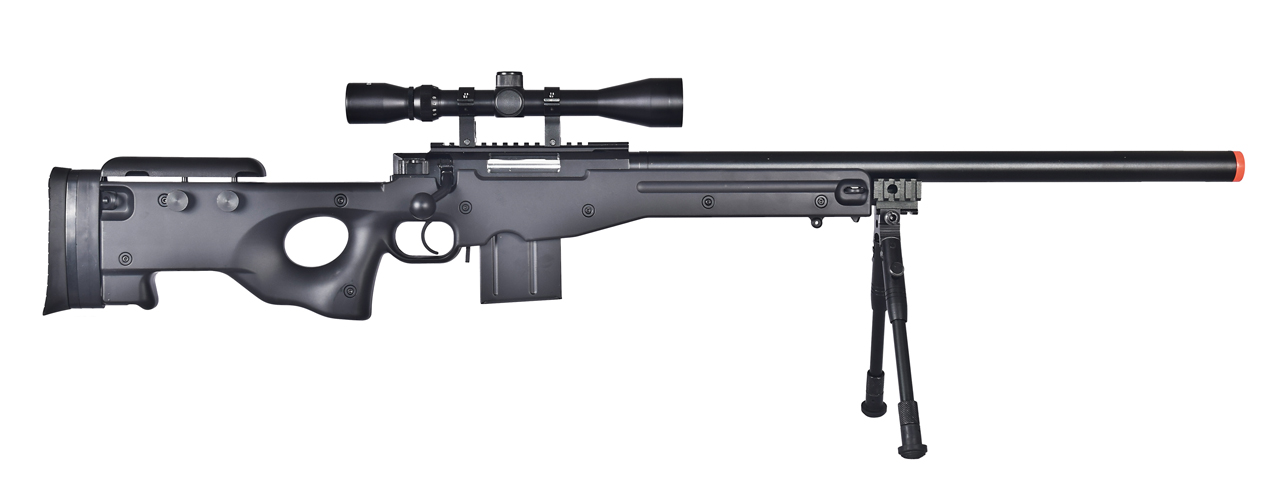 WELL MB4401BAB L96 AWS BOLT ACTION RIFLE w/BIPOD & SCOPE(COLOR: BLACK)