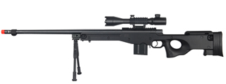 WELL MB4402BAB2 BOLT ACTION RIFLE w/FLUTED BARREL, ILLUMINATED SCOPE & BIPOD (COLOR: BLACK)