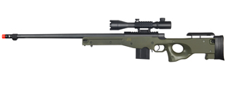 WELL MB4402GA2 BOLT ACTION RIFLE w/FLUTED BARREL & ILLUMINATED SCOPE (COLOR: OD GREEN)