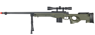 WELL MB4402GAB BOLT ACTION RIFLE w/FLUTED BARREL, SCOPE & BIPOD (COLOR: OD GREEN)