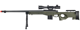 WELL MB4402GAB2 BOLT ACTION RIFLE w/FLUTED BARREL, ILLUMINATED SCOPE & BIPOD (COLOR: OD GREEN)