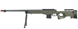 WELL MB4402GBIP BOLT ACTION RIFLE w/FLUTED BARREL & BIPOD (COLOR: OD GREEN)
