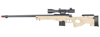 WELL MB4402TA2 BOLT ACTION RIFLE w/FLUTED BARREL & ILLUMINATED SCOPE (COLOR: TAN)
