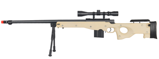 WELL MB4402TAB BOLT ACTION RIFLE w/FLUTED BARREL, SCOPE & BIPOD (COLOR: TAN)