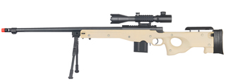 WELL MB4402TAB2 BOLT ACTION RIFLE w/FLUTED BARREL, ILLUMINATED SCOPE & BIPOD (COLOR: TAN)