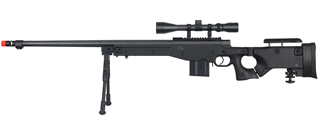 WELL MB4403BAB BOLT ACTION RIFLE w/FLUTED BARREL, SCOPE & BIPOD (COLOR: BLACK)