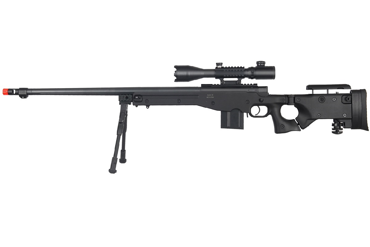 WELL MB4403BAB2 BOLT ACTION RIFLE w/FLUTED BARREL, ILLUMINATED SCOPE & BIPOD (COLOR: BLACK)