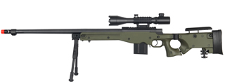 WELL MB4403GAB2 BOLT ACTION RIFLE w/FLUTED BARREL, ILLUMINATED SCOPE & BIPOD (COLOR: OD GREEN)