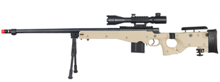 WELL MB4403TAB2 BOLT ACTION RIFLE w/FLUTED BARREL, ILLUMINATED SCOPE & BIPOD (COLOR: TAN)