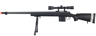 WELL MB4405BAB BOLT ACTION RIFLE w/FLUTED BARREL, SCOPE & BIPOD (COLOR: BLACK)