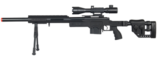 WELLFIRE AIRSOFT M24 BOLT ACTION TRI RAIL RIFLE W/ SCOPE & BIPOD - BLACK