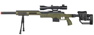 WELL MB4410GAB2 BOLT ACTION RIFLE w/ILLUMINATED SCOPE & BIPOD (COLOR: OD GREEN