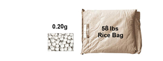 MC-22D 0.2g BBs Rice Bag- 58 lbs.