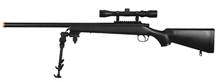 AGM MP001BAB BOLT ACTION SNIPER RIFLE w/ SCOPE & BI-POD (COLOR: BLACK)