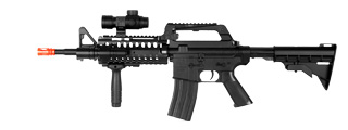 Well MR733 M4 RIS Spring Rifle w/ Flashlight, Scope, Vertical Foregrip, Retractable LE Stock