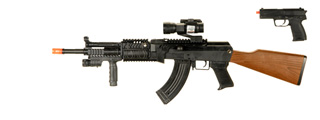 UKARMS P1072 Tactical AK47 Spring Rifle w/ Laser and Flashlight plus Bonus Spring Pistol Combo Pack