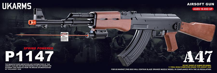 UKARMS P1147 AK-47 Spring Rifle w/ Laser [P1147] : Airsoft