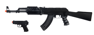 UKARMS P1247 Tactical AK-47 Spring Rifle, full stock with Bonus Spring Pistol Combo Pack