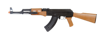 UK ARMS AIRSOFT SPRING AK-47 RIFLE W/ LASER/FLASHLIGHT - BLACK/WOOD