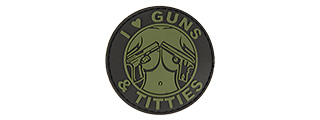 "AC-130H ""I LOVE GUNS & TITTIES"" PVC PATCH (BK/OD)"