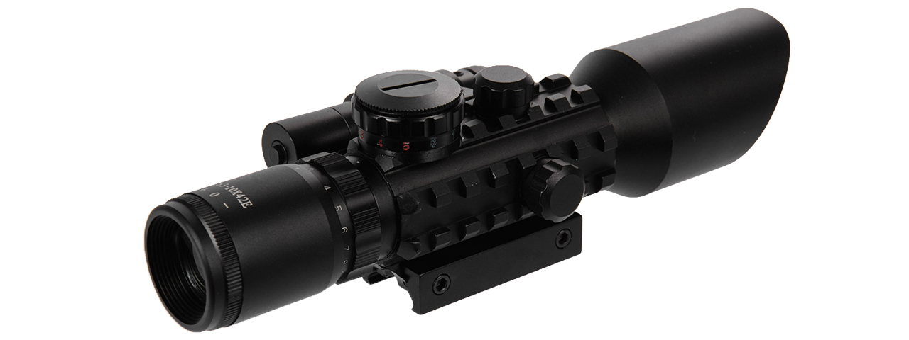 CA-1405 3-9X42 EG RED & GREEN ILLUMINATED RIFLE SCOPE W/ RED LASER SIGHT