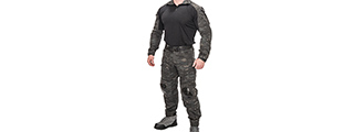 CA-2760MB-L COMBAT TACTICAL UNIFORM SET (CAMO BLACK), LRG