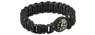 "CA-5036 8"" PARACORD BRACELET, SMALL BUCKLE W/ COMPASS (BLACK)"